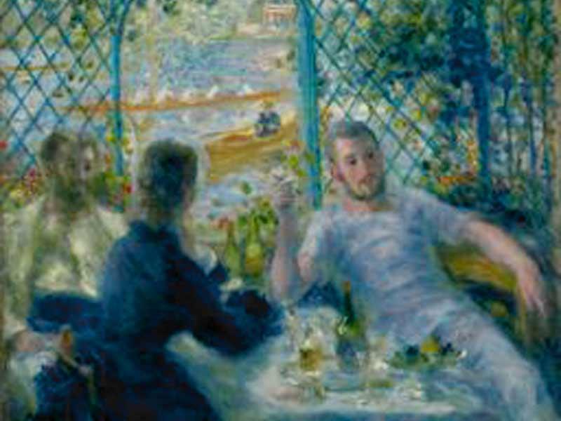 """ecrire ici la légende de votre image/utile pour les malvoyants par exemple """"Le déjeuner des Rameurs"""", Renoir, 1875, Art Institute of Chicago Légende illustration"""