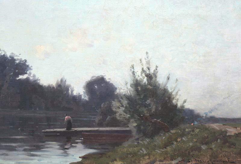 Gustave Maincent Femme sur un ponton au bord de l'eau