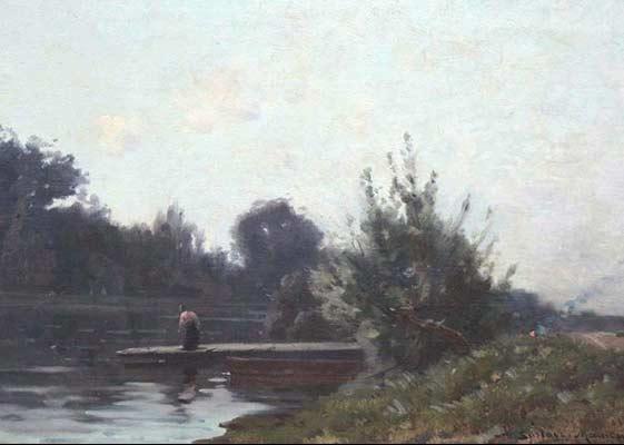 Gustave Maincent Femme sur un ponto  au bord de l'eau